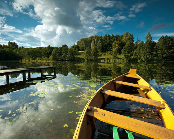 Horizontal Poster featuring the photograph A Wooden Boat On A Lake In Suwalki Lake District by Slawek Staszczuk