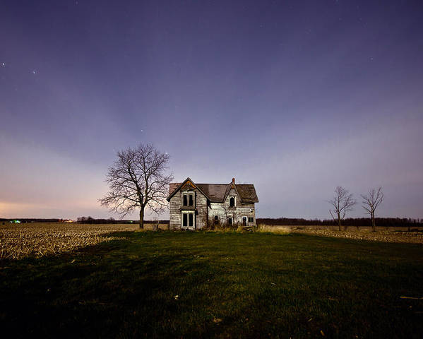 Abandoned Poster featuring the photograph Abandoned Farmhouse At Night by Cale Best