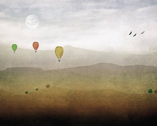 Multi Colored Hot Air Balloons Poster featuring the photograph Above The Rolling Hills by Tom York Images