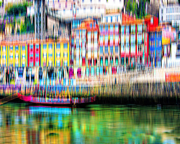 City Poster featuring the digital art abstract Portuguese city Porto-1 by Joel Vieira