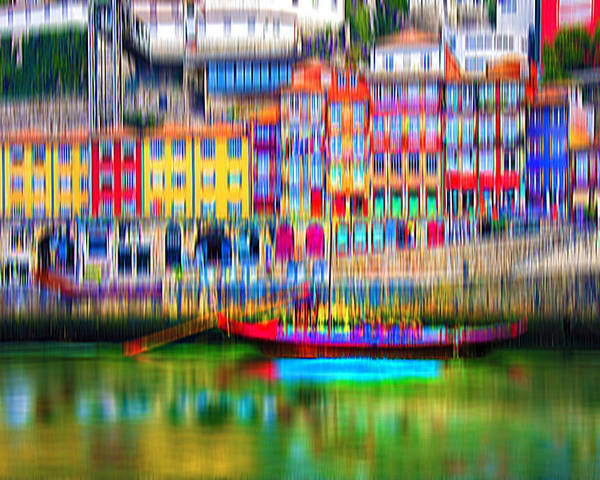 City Poster featuring the digital art abstract Portuguese city Porto-3 by Joel Vieira