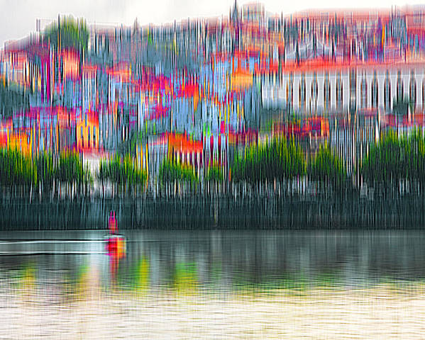 City Poster featuring the digital art abstract Portuguese city Porto-6 by Joel Vieira