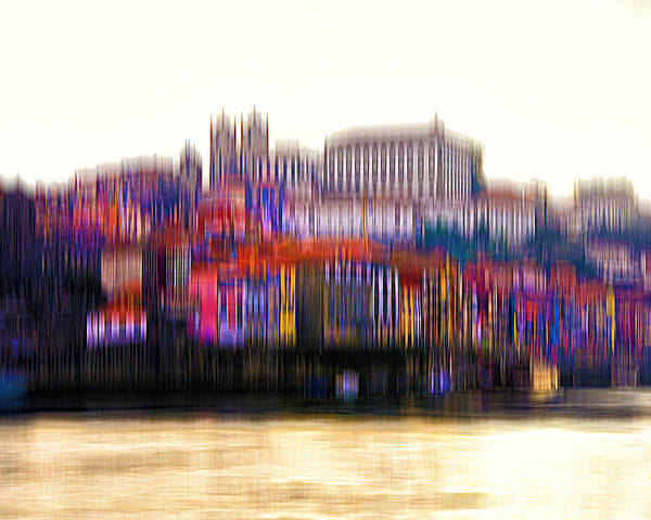 City Poster featuring the digital art abstract Portuguese city Porto-8 by Joel Vieira
