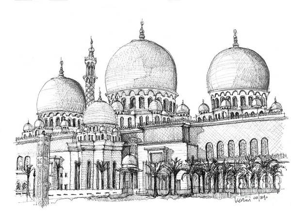 Abu Dhabi Poster featuring the drawing Abu Dhabi Masjid In Ink by Adendorff Design