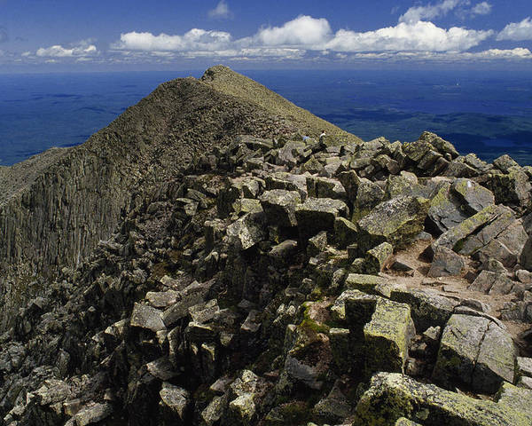 Mount Katahdin Poster featuring the photograph Abutting The Clouds, Hikers Rest Atop by Phil Schermeister