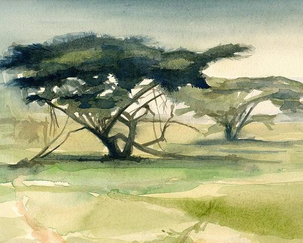 Landscape Poster featuring the painting Acacia by Stephanie Aarons