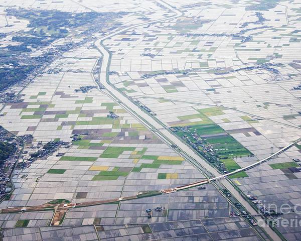 Aerial Poster featuring the photograph Aerial View Of Flooded Farmland by Jeremy Woodhouse