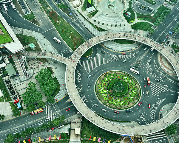 Horizontal Poster featuring the photograph Aerial View Of Shaghai Traffic by Ixefra