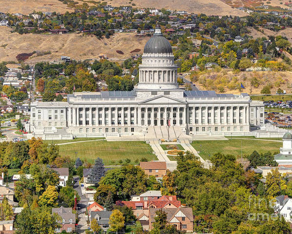 Salt Poster featuring the photograph Aerial View Of Utah State Capitol Building by Gary Whitton