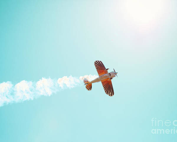 Airplane Poster featuring the photograph Aerobatic Biplane Inverted by Kim Fearheiley