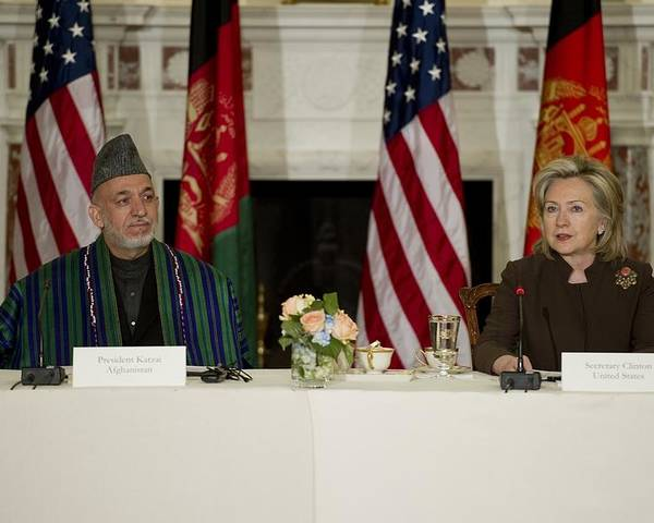 History Poster featuring the photograph Afghan President Hamid Karzai And Sec by Everett