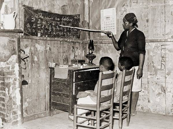 History Poster featuring the photograph African American Mother Teaching by Everett