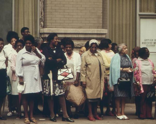 History Poster featuring the photograph African Americans Mostly Women Waiting by Everett