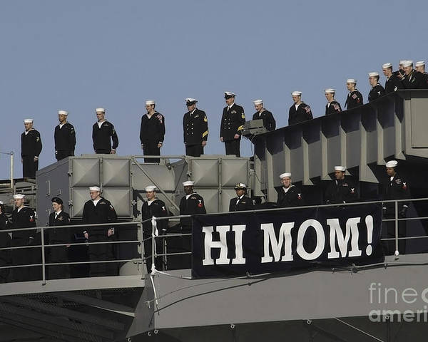 Horizontal Poster featuring the photograph Ailors And Marines Man The Rails Aboard by Stocktrek Images
