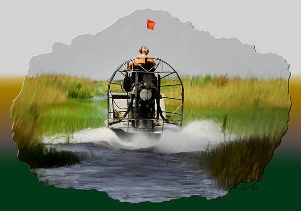 Air Boating Poster featuring the digital art Air-boating Florida Everglades by Jeffrey Graves