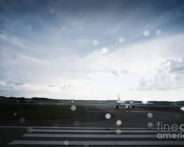 Air Traffic Control Poster featuring the photograph Airplane On Runway by Shannon Fagan