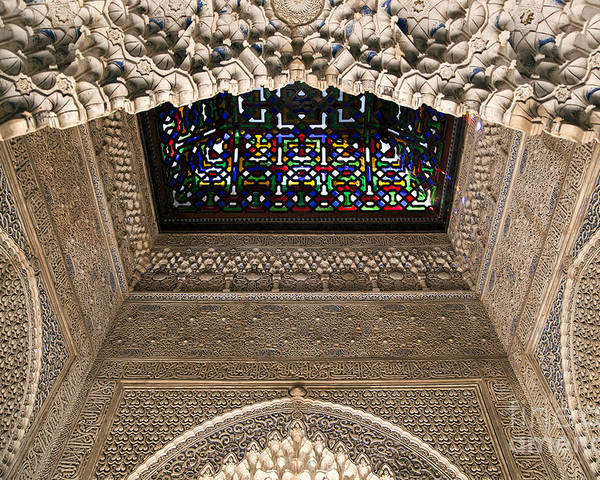 Alhambra Poster featuring the photograph Alhambra Stained Glass Detail by Jane Rix