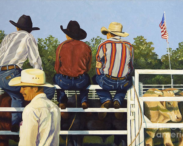 Cowboys Poster featuring the painting All American by Pat Burns