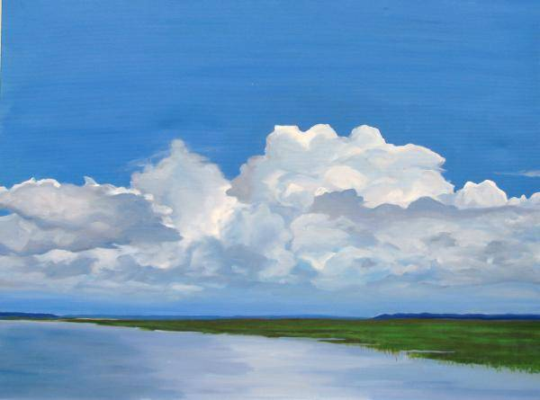 Landscape Poster featuring the painting Along The Causeway by Molly Wright