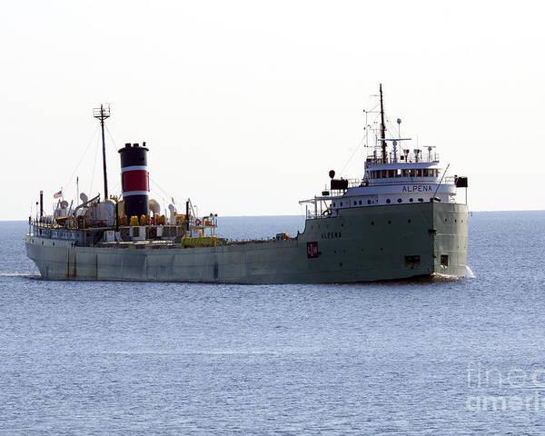 Ship Poster featuring the photograph Alpena Ship by Lori Tordsen