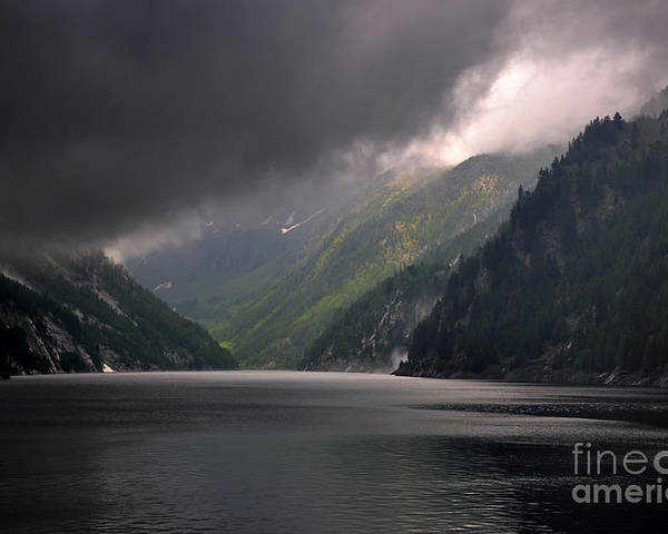 Lake Poster featuring the photograph Alpine Lake With Sunlight by Mats Silvan