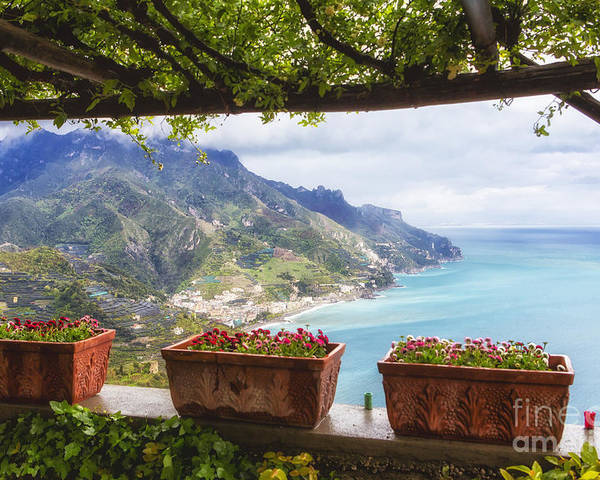 Landscape Poster featuring the photograph Amalfi Coast Vista From Under A Trellis by George Oze