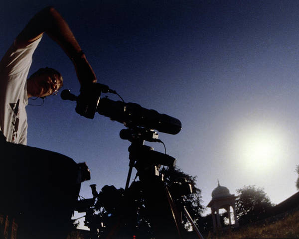 Eclipse Poster featuring the photograph Amateur Astronomer Observing A Solar Eclipse by Dr Fred Espenak