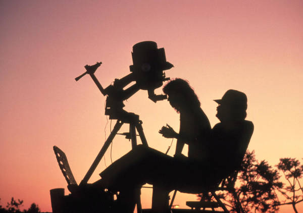 Meade 2080 Amateur Telescope Poster featuring the photograph Amateur Astronomers With Meade 2080 20cm Telescope by John Sanford