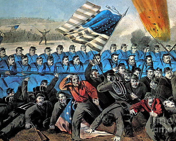 History Poster featuring the photograph American Civil War, Battle Of Malvern by Photo Researchers