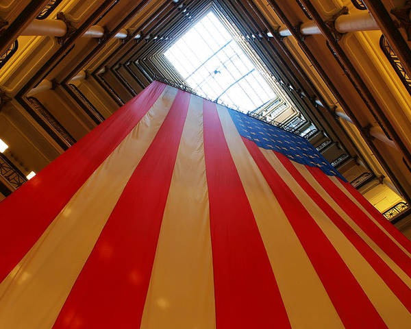 American Poster featuring the photograph American Flag In Marshall Field's by Paul Ge