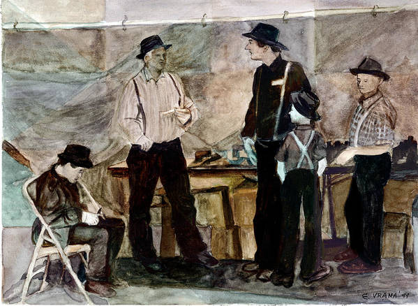 Amish Poster featuring the painting Amish Market by Ethel Vrana