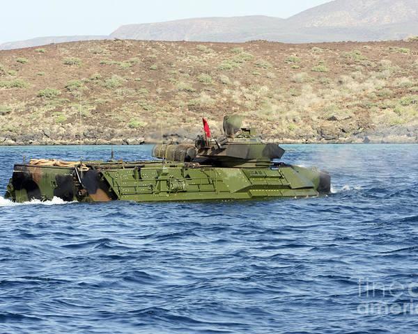 Marines Poster featuring the photograph Amphibious Assault Vehicle Crewmen by Stocktrek Images