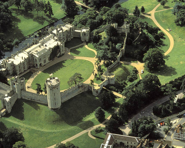 Warwick Castle Poster featuring the photograph An Aerial View Of Warwick Castle by Richard Nowitz