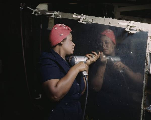 History Poster featuring the photograph An African American Rosy The Riveter by Everett