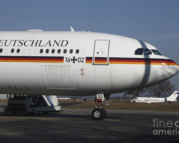 Germany Poster featuring the photograph An Airbus 340 Acting As Air Force One by Timm Ziegenthaler