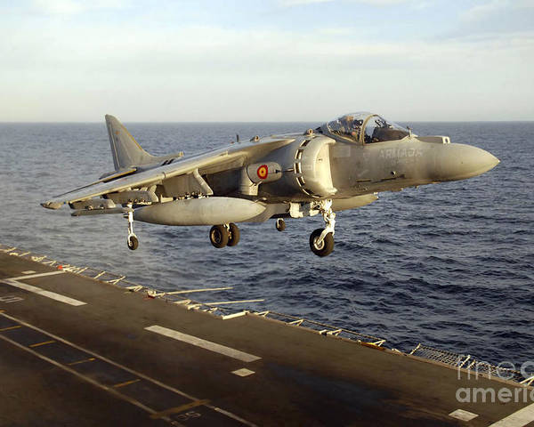 Aircraft Poster featuring the photograph An Av-8b Harrier II Prepares To Land by Stocktrek Images