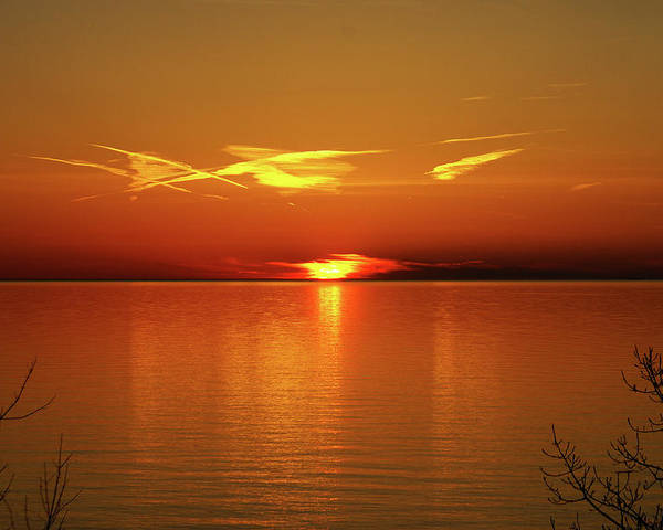 Lake Poster featuring the photograph An Erie Sunset by Jim Butera