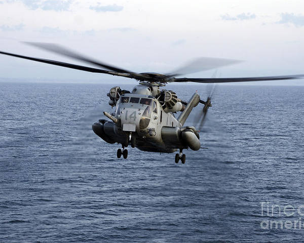 Transportation Poster featuring the photograph An Mh-53e Sea Dragon In Flight by Stocktrek Images