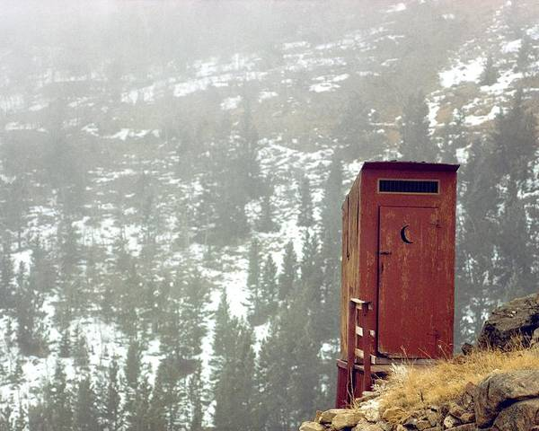North America Poster featuring the photograph An Outhouse Perches On A Hillside by Rex A. Stucky