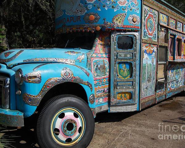 Disney World Poster featuring the photograph Anandapur Blue Bus Animal Kingdom Walt Disney World Prints by Shawn O'Brien