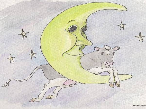 Cow Moon Stars Jump Jumped Jumping Smiling Moon Holstein Poster featuring the drawing And The Cow Jumped Over The Moon by Marybeth Friel-Patton