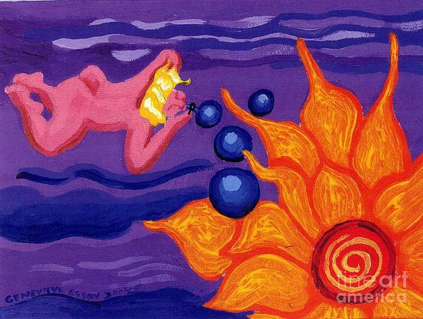 Angel Poster featuring the painting Angel Blows Bubbles On Sunflower by Genevieve Esson