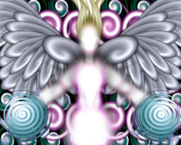 Angelic Flares Angel Light Poster featuring the digital art Angelic Flares by Elysia Bloom