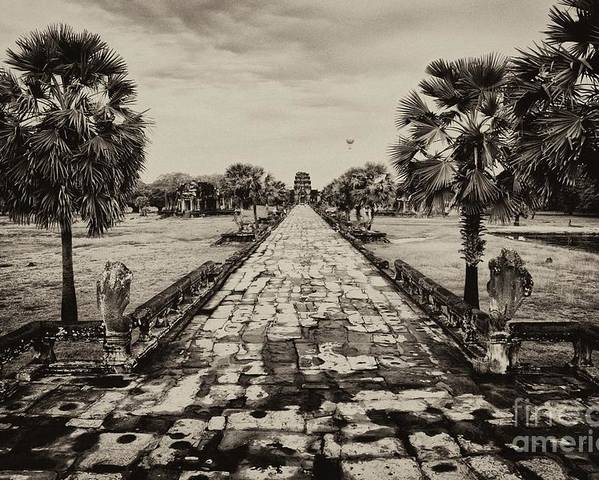 Angkor Wat Causeway Poster featuring the photograph Angkor Wat Causeway by Kate McKenna