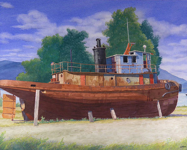 Antiquated Poster featuring the painting Antiquated Hudson River Tug by Glen Heberling