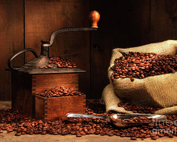 Aroma Poster featuring the photograph Antique Coffee Grinder With Beans by Sandra Cunningham