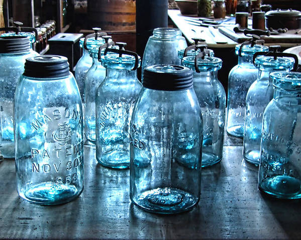 Antique Mason Jars Poster featuring the photograph Antique Mason Jars by Mark Sellers