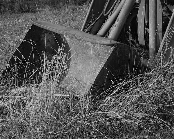 Tractor Poster featuring the photograph Antique Tractor Bucket In Black And White by Jennifer Ancker