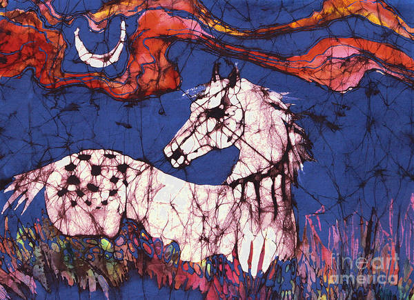 Batik Poster featuring the tapestry - textile Appaloosa In Flower Field by Carol Law Conklin