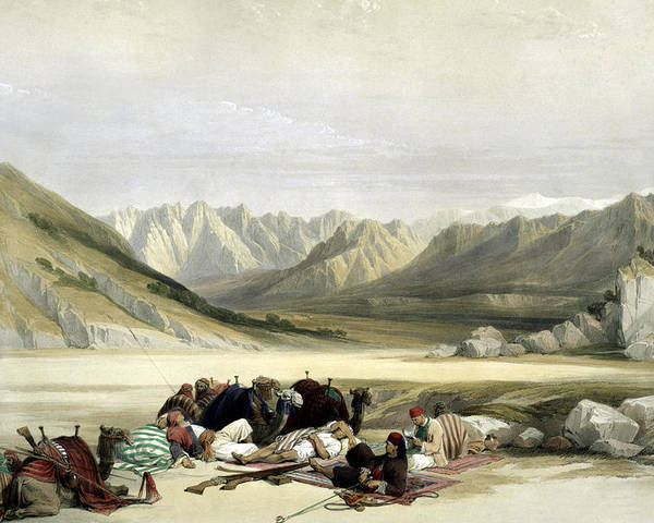 Mount Sinai Poster featuring the photograph Approach To Mount Sinai Wady Barah Feby 17th 1839 by Munir Alawi
